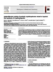 Antiproliferative activity of synthetic naphthoquinones related to