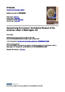 Antiquity Decolonising the museum: the National ...