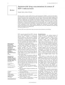 Antiretroviral drug concentrations in semen of HIV-1 ... - Europe PMC