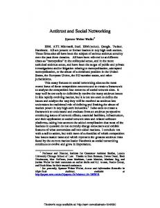 Antitrust and Social Networking - SSRN