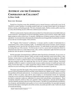 antitrust and the commons: cooperation or collusion? - Competitive ...