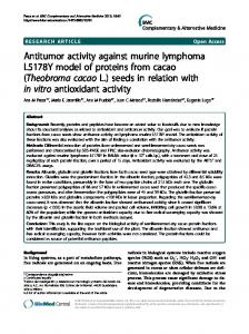 Antitumor activity against murine lymphoma L5178Y model of ... - Core