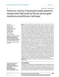 Antitumor activity of docetaxel-loaded polymeric