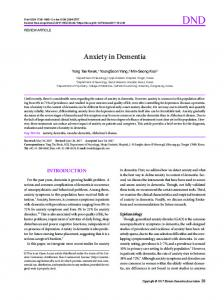 Anxiety in Dementia - KoreaMed Synapse
