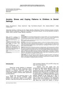 Anxiety, Stress and Coping Patterns in Children in ...