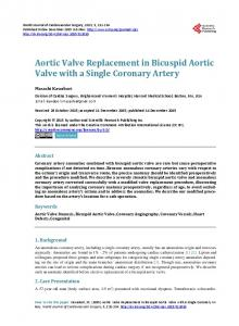 Aortic Valve Replacement in Bicuspid Aortic Valve