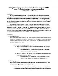 AP English Language and Composition Summer Assignment 2013