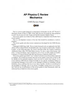AP Physics C Review Mechanics