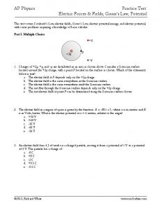 AP Physics Practice Test: Electric Forces & Fields, Gauss's Law ...