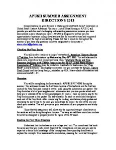 AP US History Summer Assignment 2013 - Washington High School