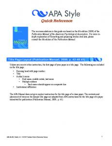 APA 6th Edition Quick Reference Guide. Version 2
