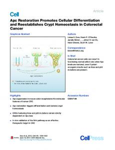 Apc Restoration Promotes Cellular Differentiation and ... - Core