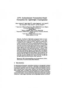 APE: Authenticated Permutation-Based Encryption for Lightweight ...