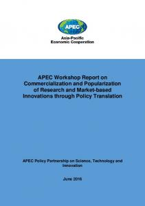 APEC Workshop Report on Commercialization and Popularization of