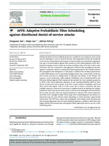 APFS: Adaptive Probabilistic Filter Scheduling against distributed ...