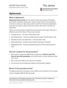 Apheresis - Patient Education Home - Ohio State University