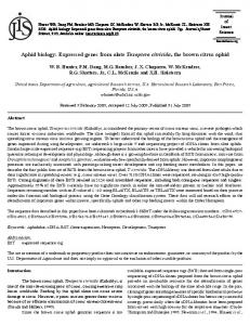 Aphid biology: Expressed genes from alate Toxoptera ... - BioOne