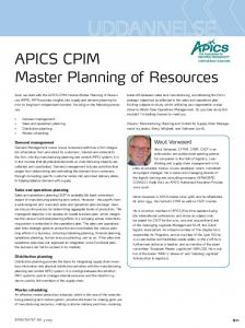APICS CPIM Master Planning of Resources - Effektivitet.dk