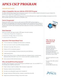 APICS CSCP PROGRAM - APICS Boston