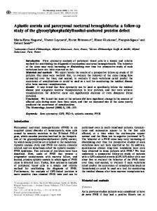 Aplastic anemia and paroxysmal nocturnal hemoglobinuria: a follow ...
