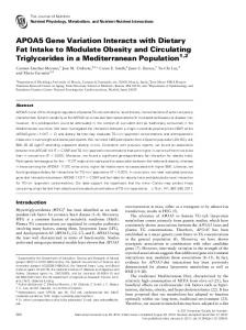 APOA5 Gene Variation Interacts with Dietary Fat Intake to Modulate