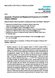 Apocynin: Chemical and Biophysical Properties of