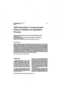 APP Intracellular C-Terminal Domain Function is Related ... - IOS Press