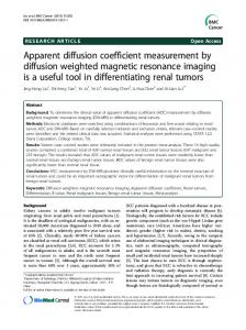Apparent diffusion coefficient measurement by diffusion weighted ...