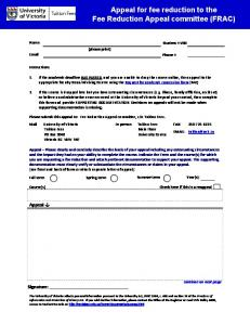 Appeal for fee reduction form
