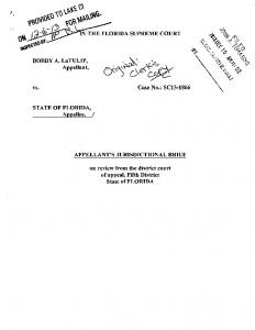 appellant's jurisdictional brief - Florida Supreme Court