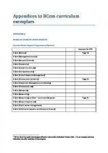 Appendices to BCom curriculum exemplars - Council on Higher ...