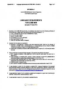 Appendix 1: Foreign languages requirements