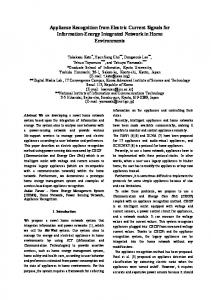 Appliance Recognition from Electric Current Signals for ... - CiteSeerX