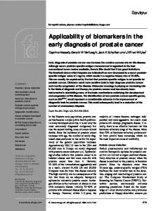 Applicability of biomarkers in the early diagnosis of prostate cancer