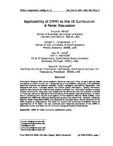 Applicability of CMMI to the IS Curriculum: A Panel ... - CiteSeerX