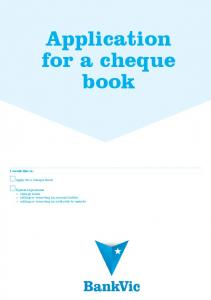 Application for a cheque book - BankVic