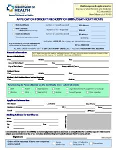 Application for certified copy of birth/death certificate