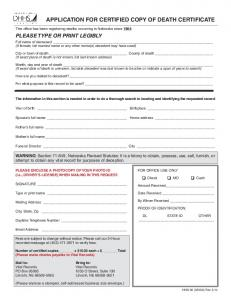APPLICATION FOR CERTIFIED COPY OF DEATH CERTIFICATE