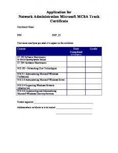Application for Network Administration Microsoft MCSA Track ...