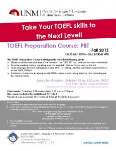 Application for the CELAC TOEFL iBT Preparation Course March 10 ...