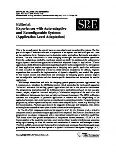 Application Level Adaptation - Wiley Online Library