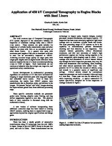 Application of 450 kV Computed Tomography to Engine ... - CiteSeerX