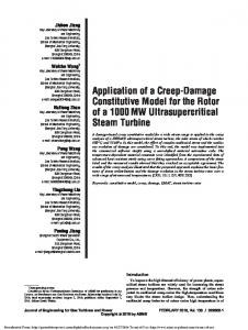 Application of a Creep-Damage Constitutive Model for ...