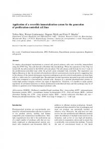 Application of a reversible immortalization system for the generation of ...