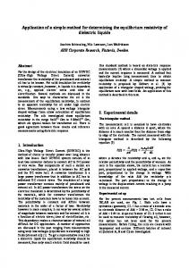 Application of a simple method for determining the equilibrium ... - NTNU