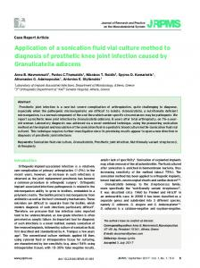 Application of a sonication fluid vial culture method to ... - JRPMS