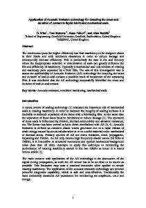 Application of Acoustic Emission technology for ...