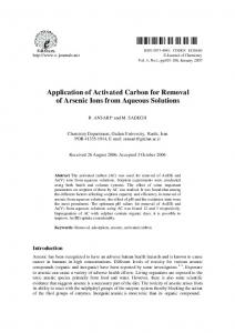 Application of Activated Carbon for Removal of Arsenic Ions ... - Hindawi
