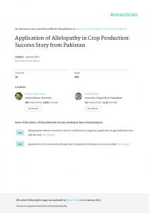 Application of Allelopathy in Crop Production