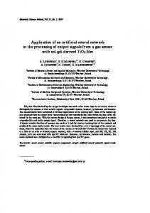 Application of an artificial neural network in the